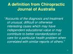 a definition from chiropractic journal of australia