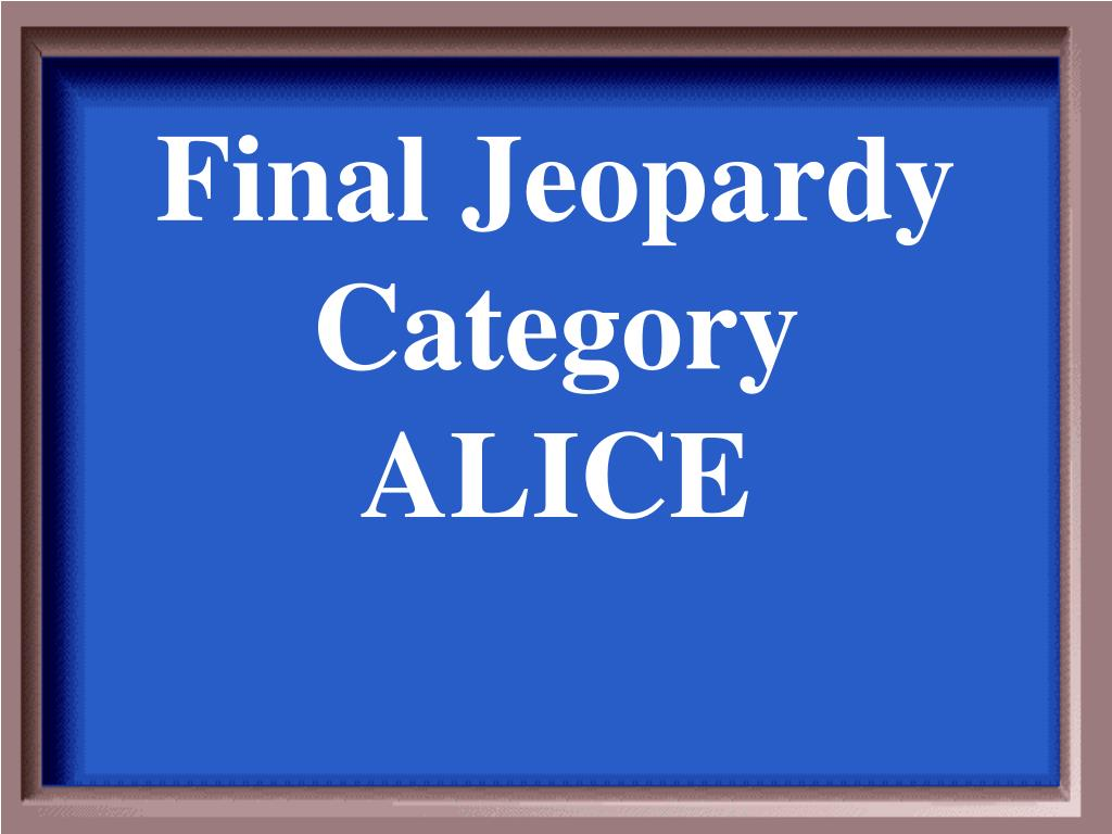 Final Jeopardy Category