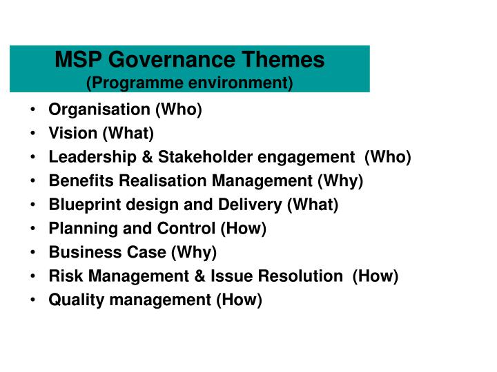 Ppt ogcs managing successful programmes msp powerpoint msp governance themesprogramme environment malvernweather Images