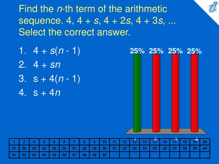Find the n th term of the arithmetic sequence 4 4 s 4 2 s 4 3 s select the correct answer