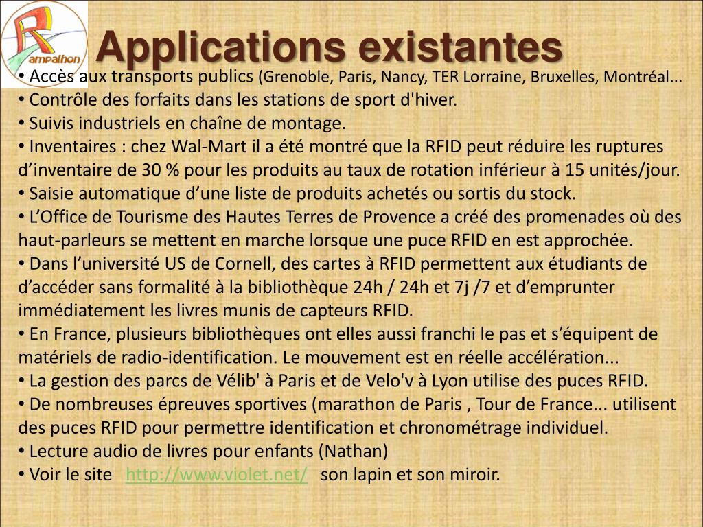 Applications existantes