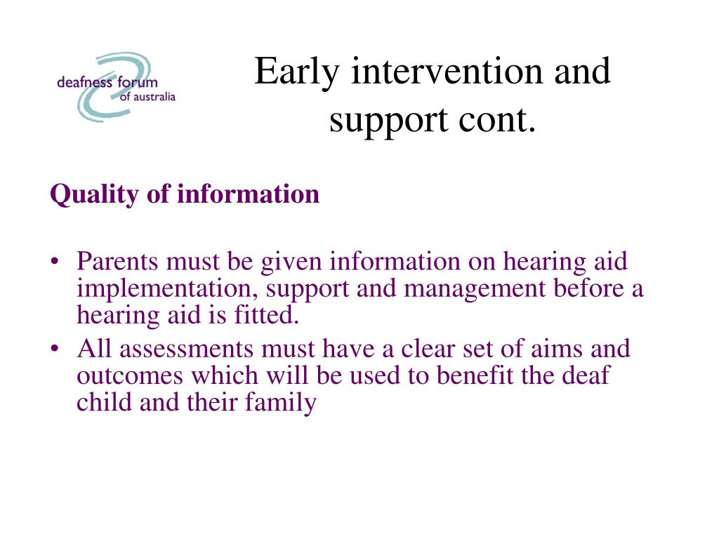 Early intervention and support cont.