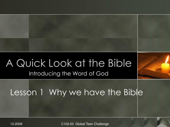 a quick look at the bible n.