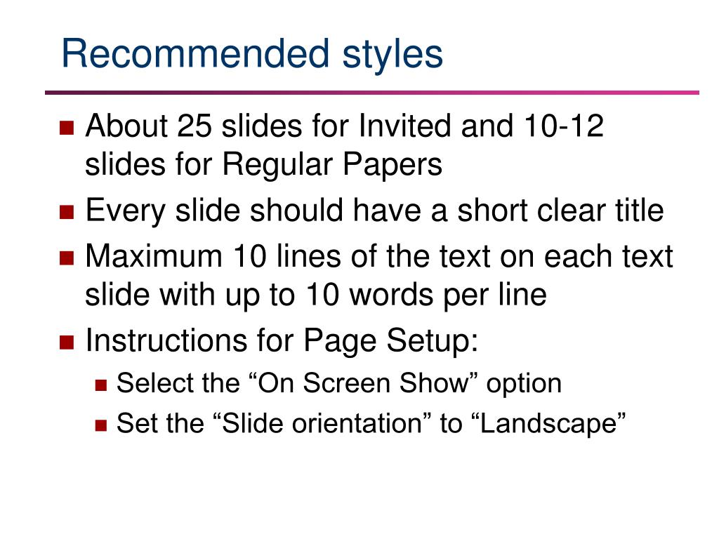 Recommended styles