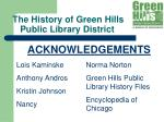 the history of green hills public library district13