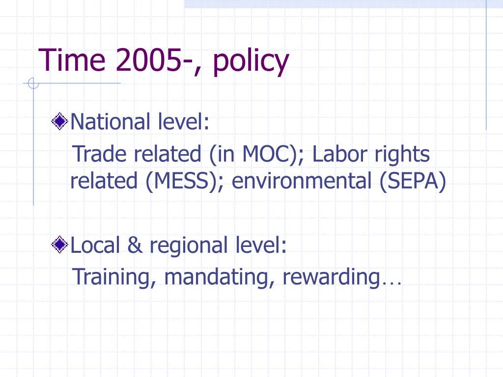 Time 2005-, policy