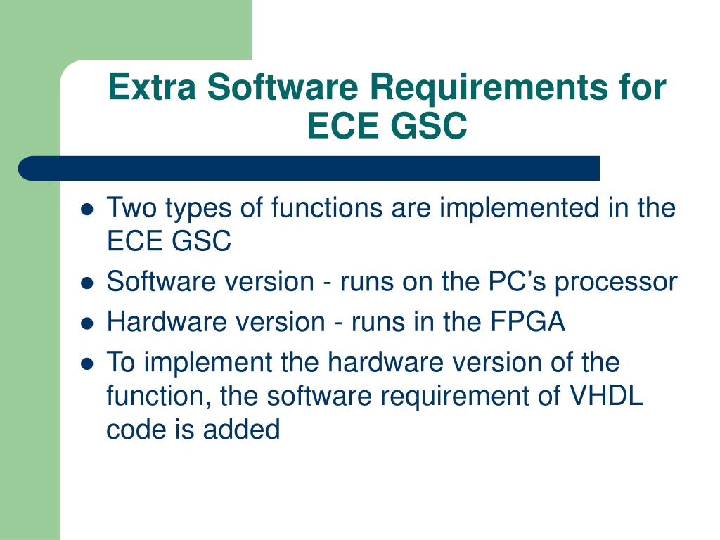 Extra Software Requirements for ECE GSC