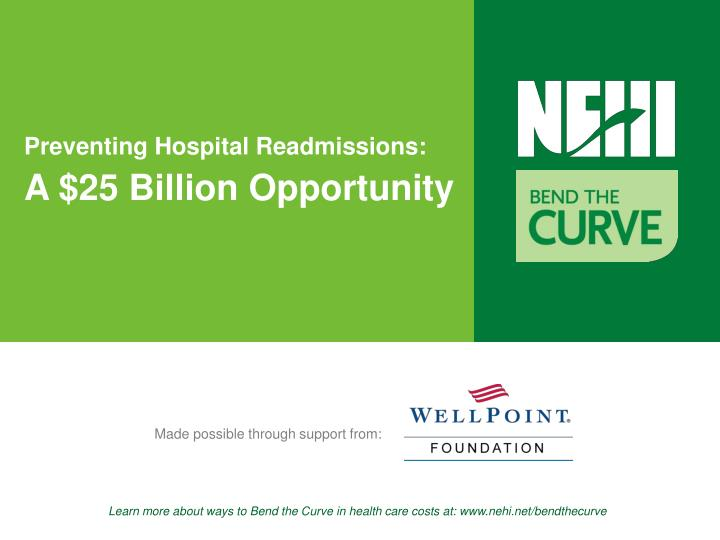 preventing hospital readmissions a 25 billion opportunity n.