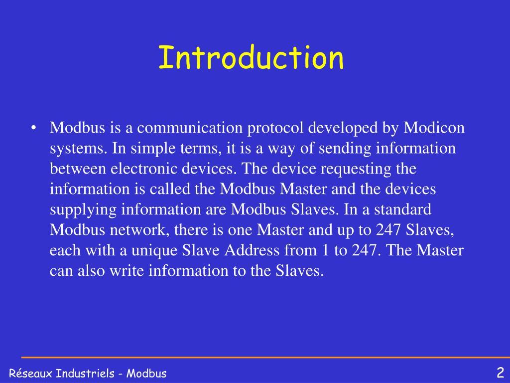 PPT - Les réseaux Industriels MODBUS PowerPoint Presentation