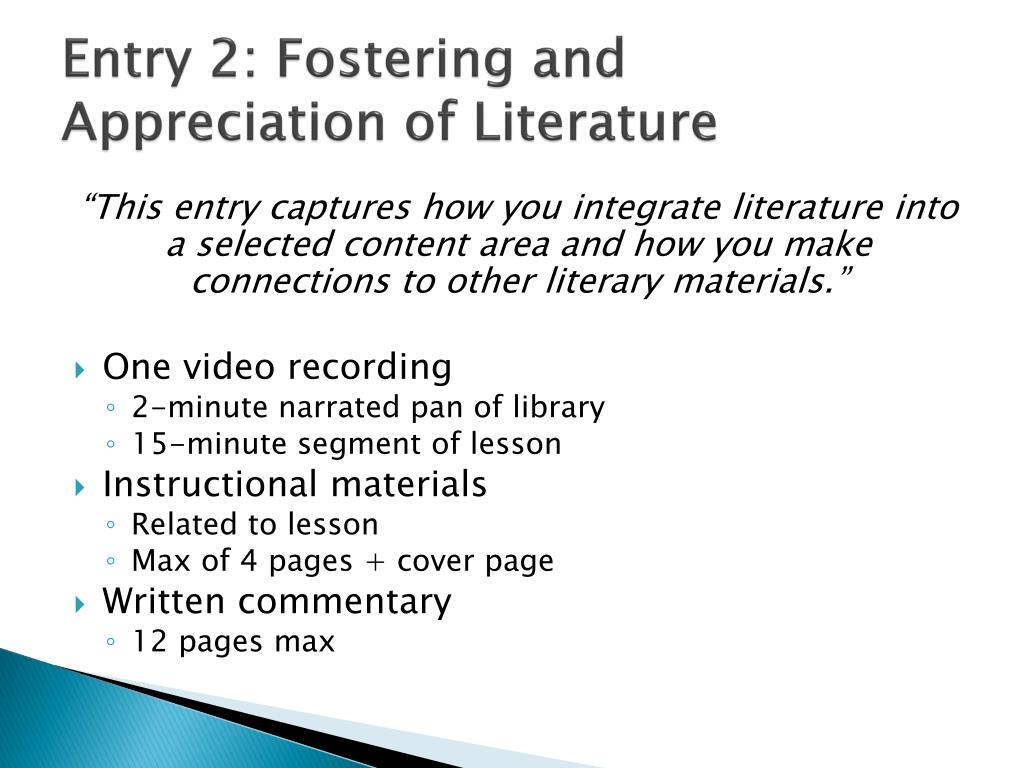 Entry 2: Fostering and Appreciation of Literature