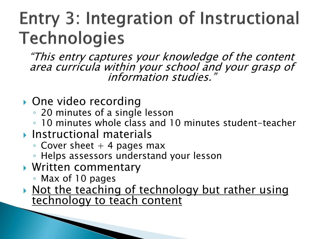 Entry 3: Integration of Instructional Technologies