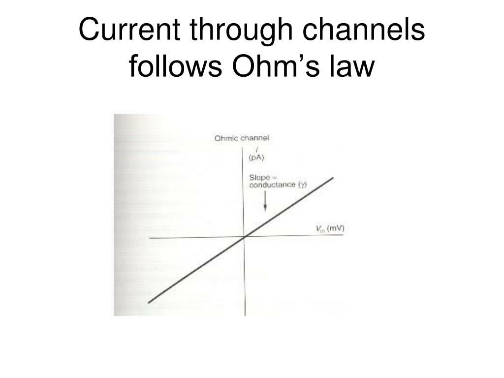 Current through channels follows Ohm's law