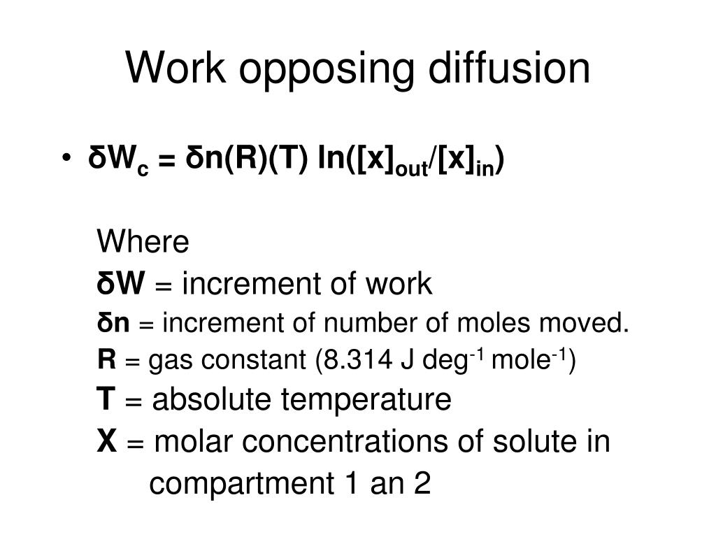 Work opposing diffusion