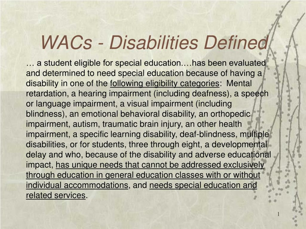 wacs disabilities defined l.