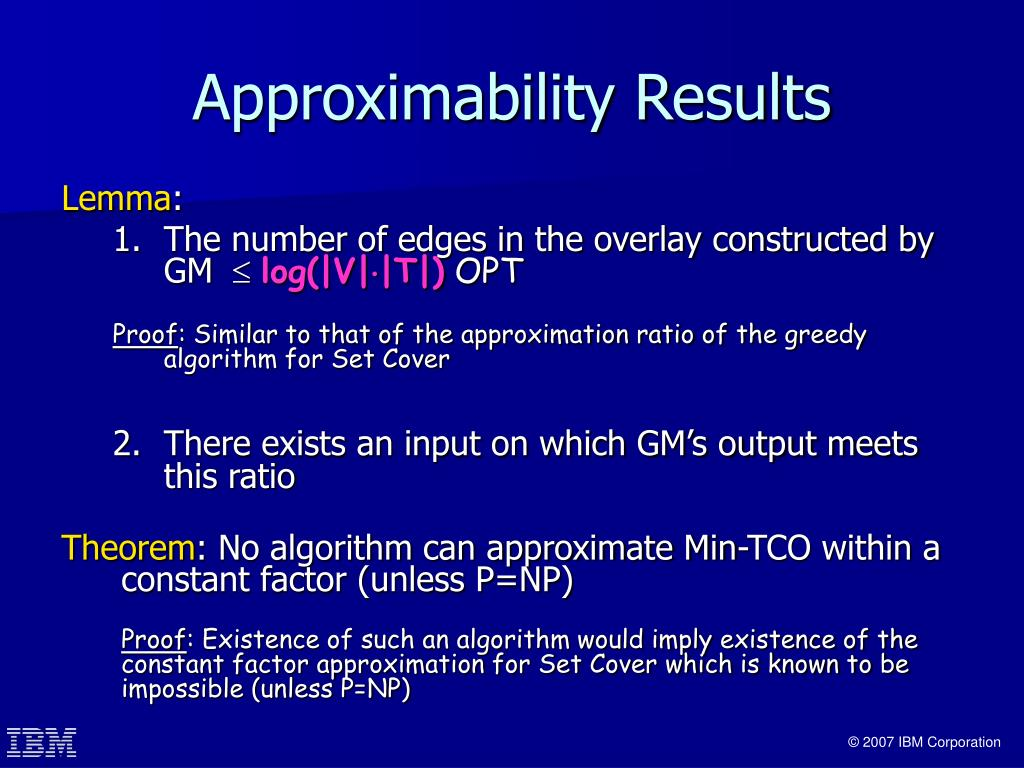 Approximability Results