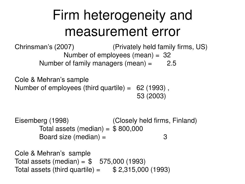 Firm heterogeneity and measurement error