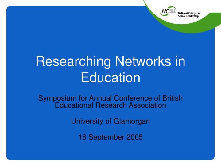 researching networks in education n.
