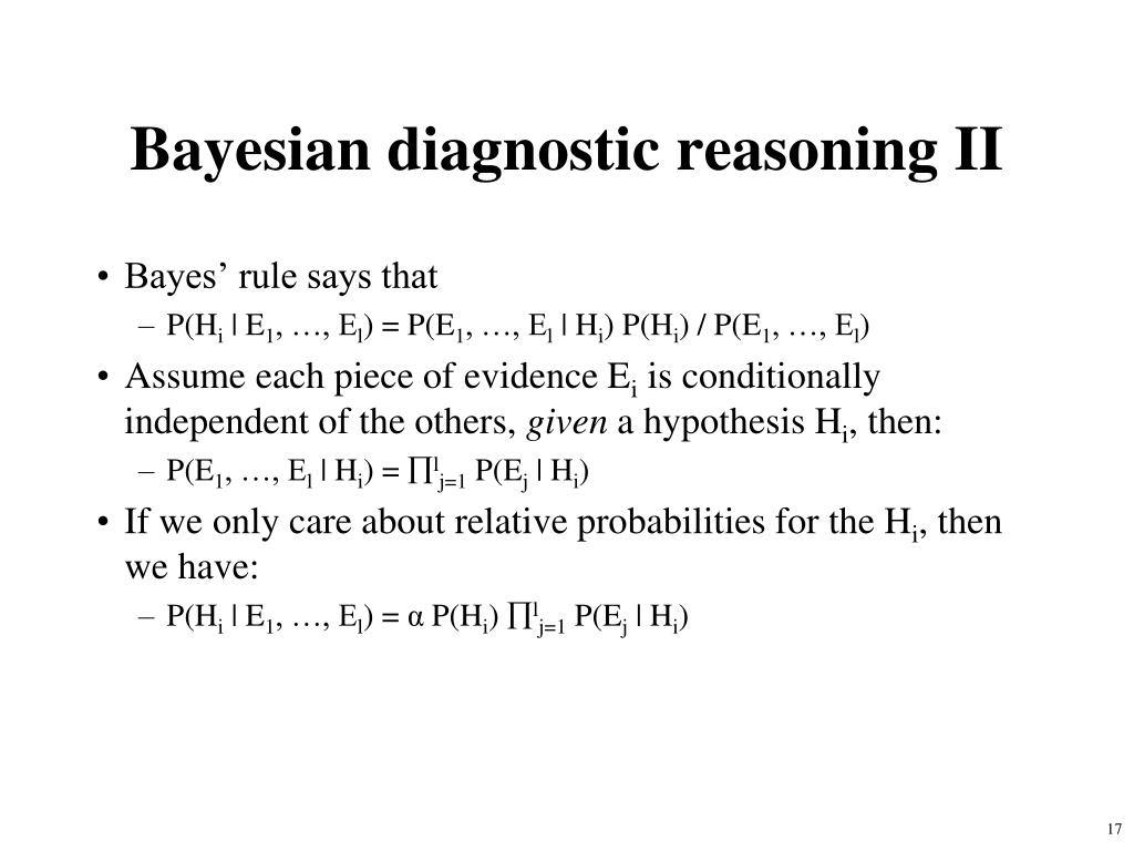 Bayesian diagnostic reasoning II