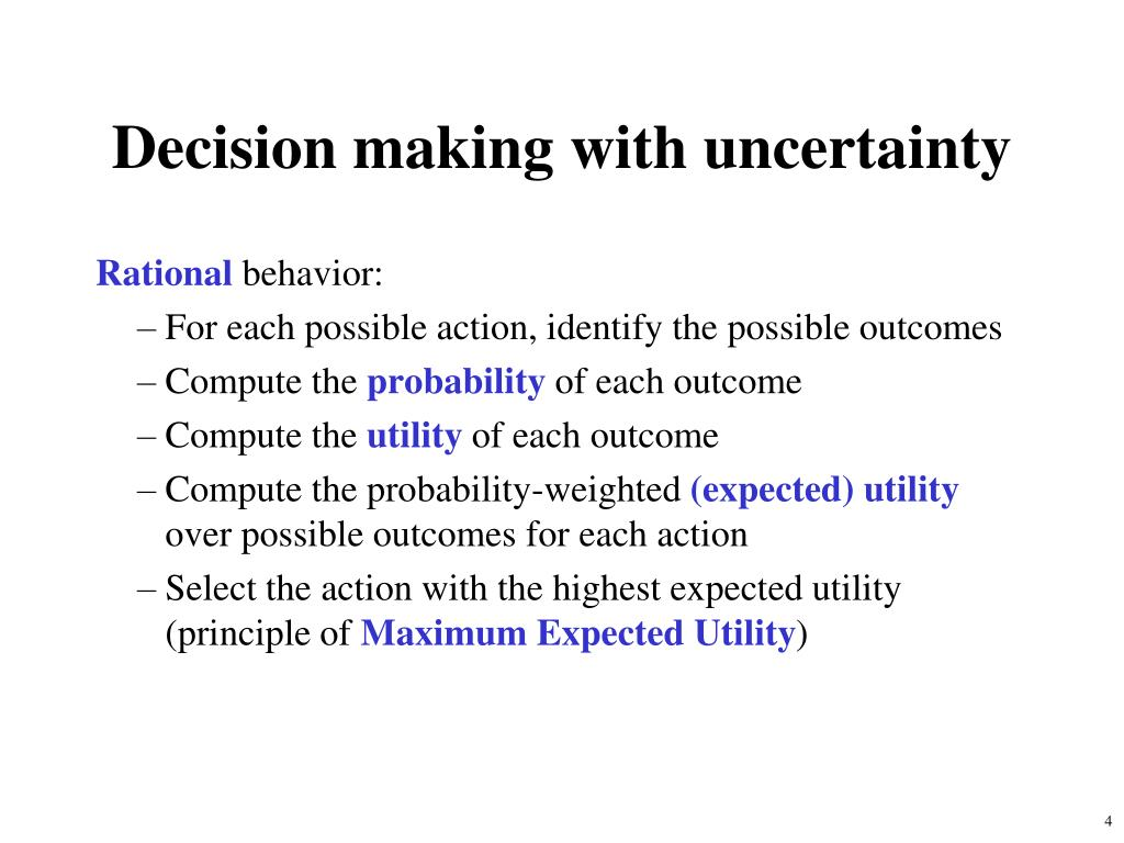 Decision making with uncertainty