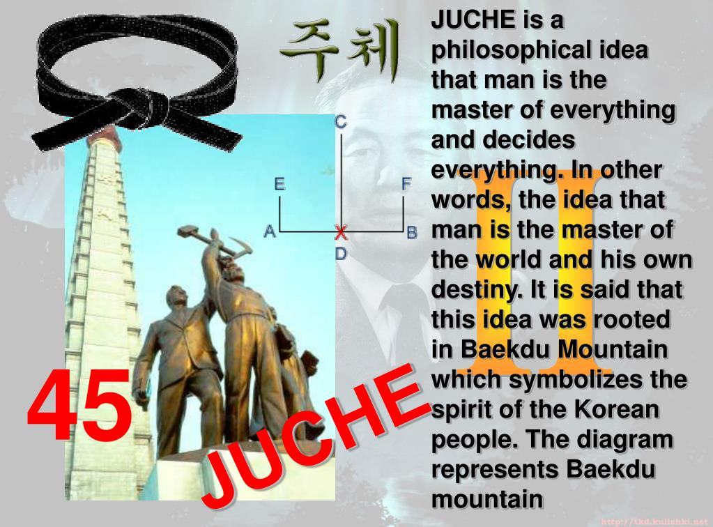 JUCHE is a philosophical idea that man is the master of everything and decides everything. In other words, the idea that man is the master of the world and his own destiny. It is said that this idea was rooted in Baekdu Mountain which symbolizes the spirit of the Korean people. The diagram represents Baekdu mountain