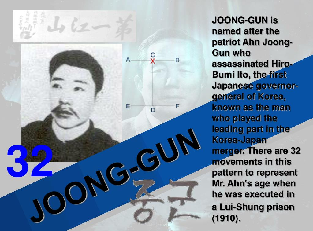 JOONG-GUN is named after the patriot Ahn Joong-Gun who assassinated Hiro-Bumi Ito, the first Japanese governor-general of Korea, known as the man who played the leading part in the Korea-Japan merger. There are 32 movements in this pattern to represent Mr. Ahn's age when he was executed in a Lui-Shung prison