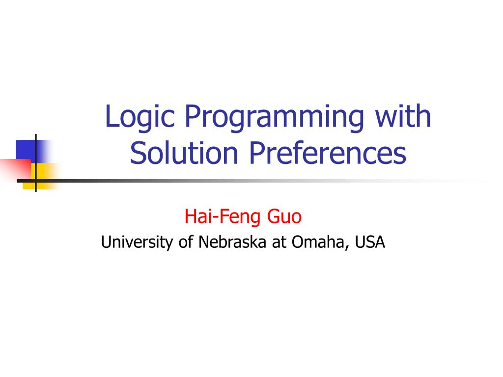 logic programming with solution preferences l.