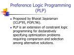preference logic programming plp