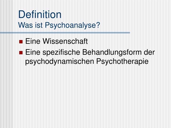 Definition was ist psychoanalyse