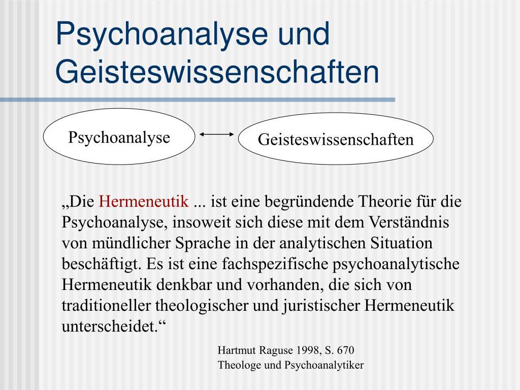 Psychoanalyse und Geisteswissenschaften