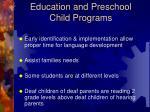 education and preschool child programs
