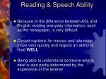 reading speech ability