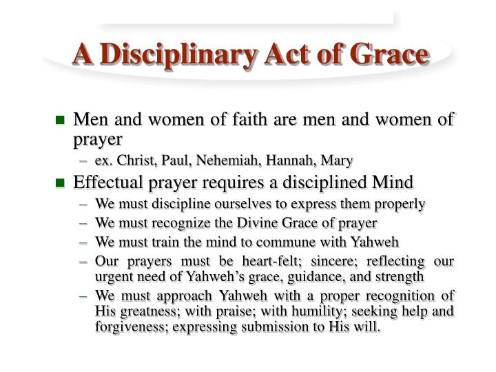 A disciplinary act of grace