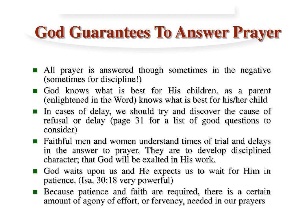 God Guarantees To Answer Prayer