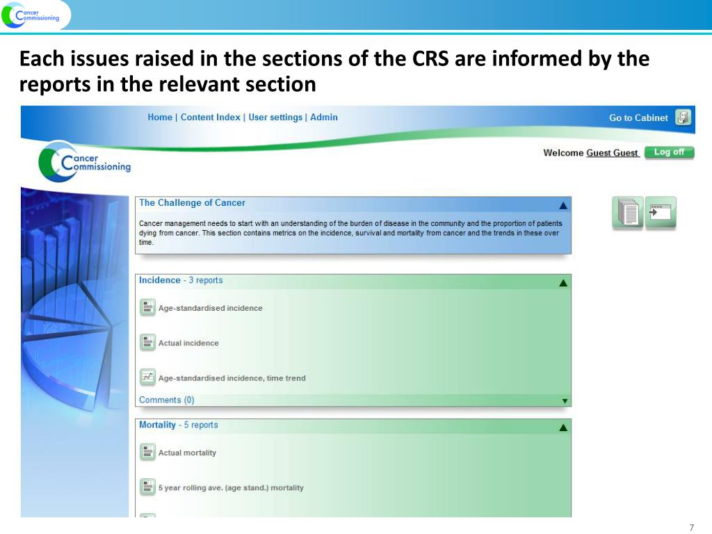 Each issues raised in the sections of the CRS are informed by the reports in the relevant section