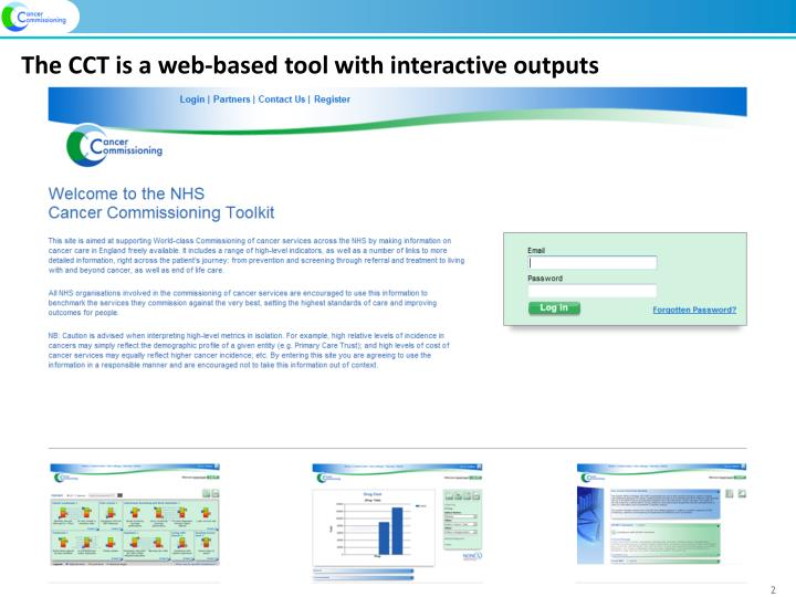 The cct is a web based tool with interactive outputs