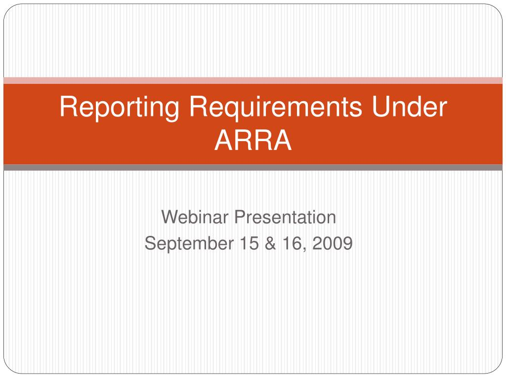 reporting requirements under arra l.