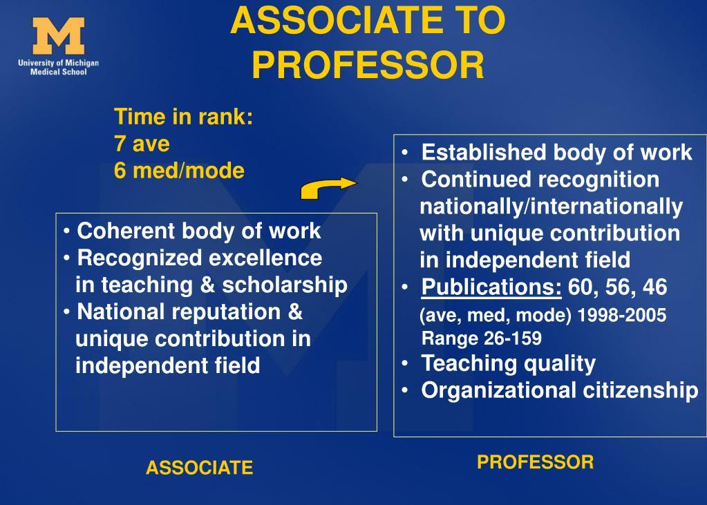 ASSOCIATE TO PROFESSOR