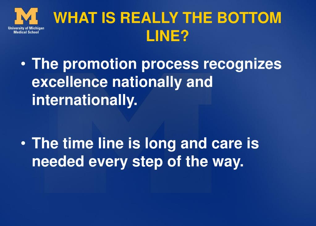 WHAT IS REALLY THE BOTTOM LINE?