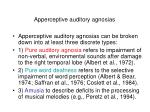 apperceptive auditory agnosias