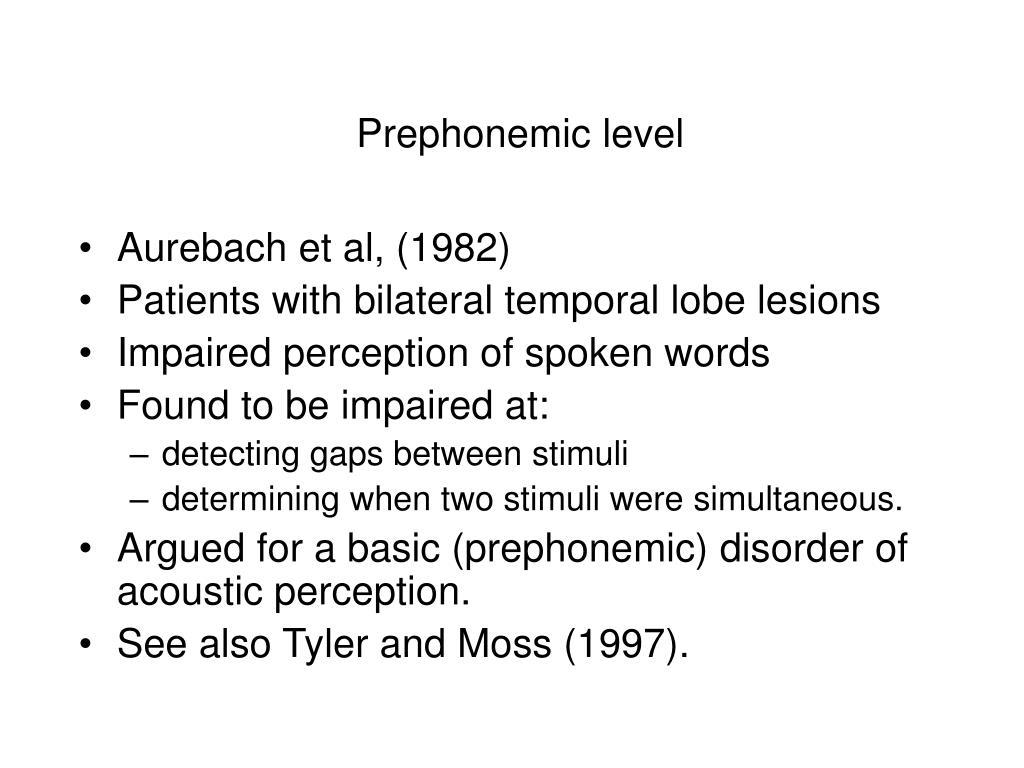 Prephonemic level