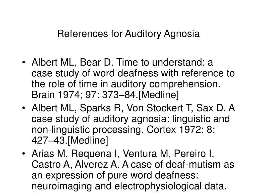References for Auditory Agnosia
