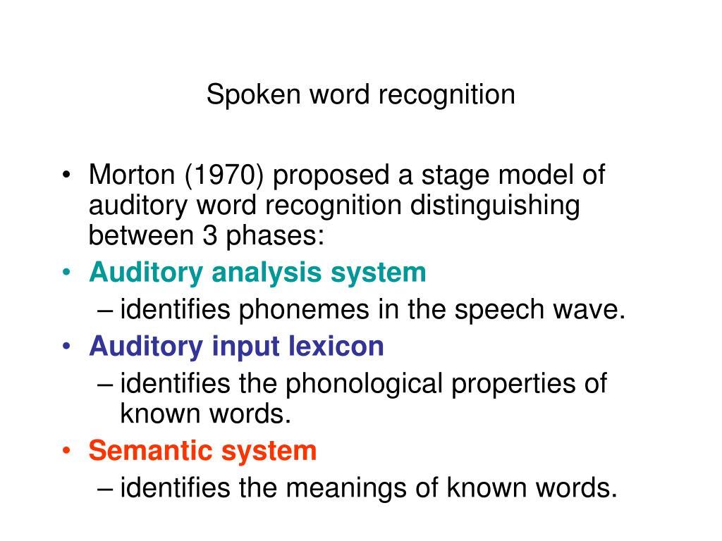 Spoken word recognition