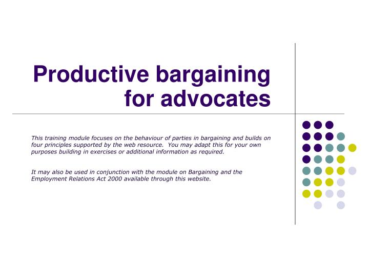 what is productivity bargaining