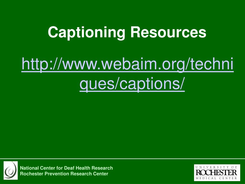 Captioning Resources