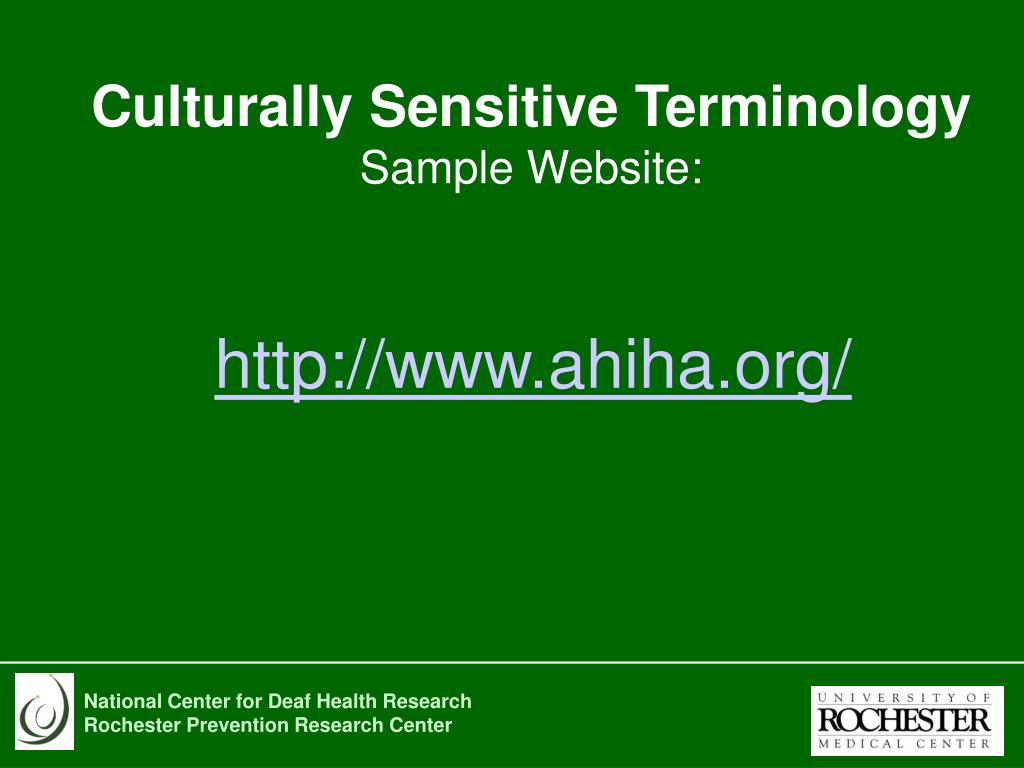 Culturally Sensitive Terminology