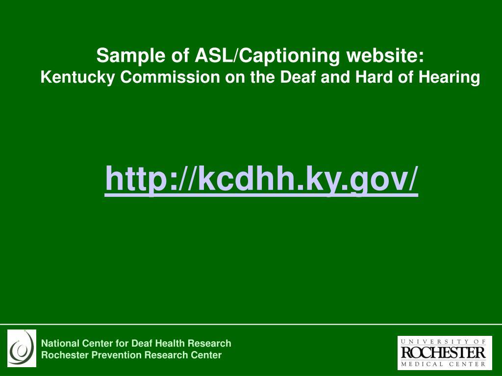 Sample of ASL/Captioning website: