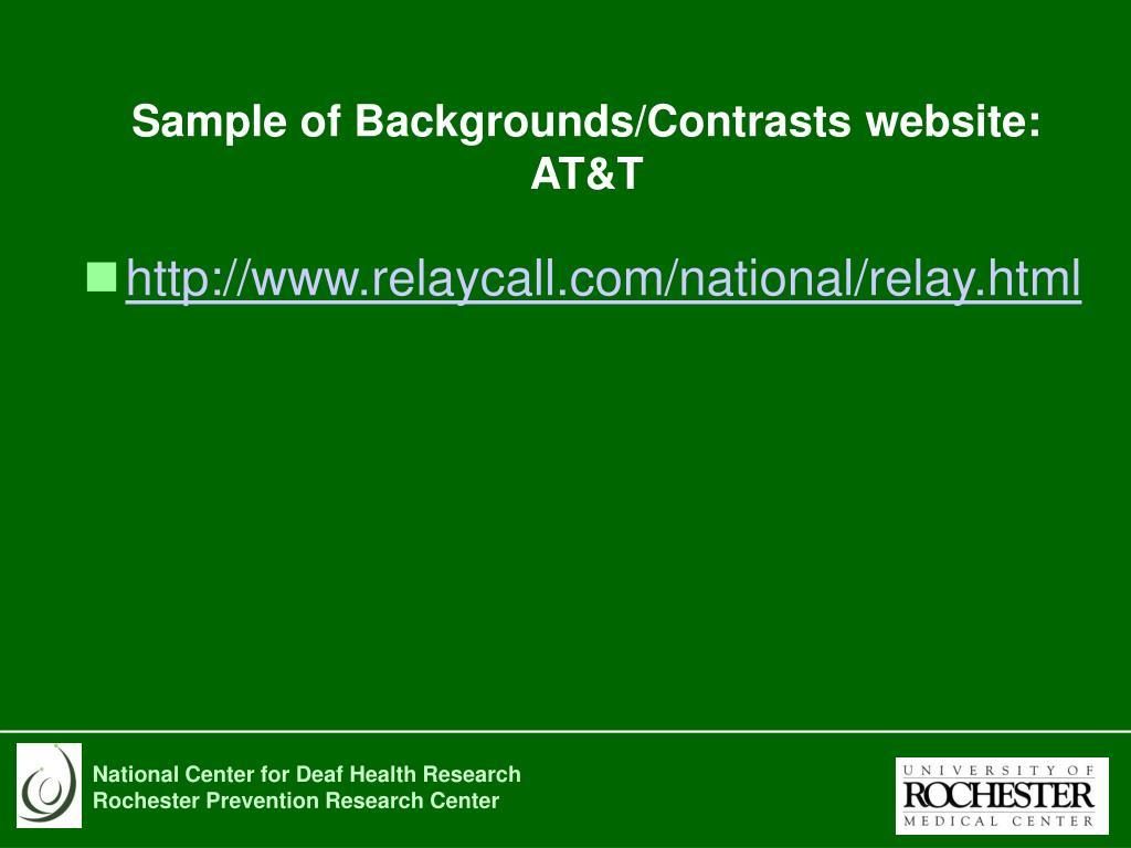 Sample of Backgrounds/Contrasts website:
