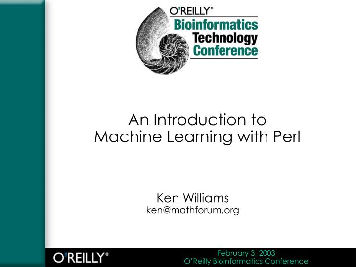 an introduction to machine learning with perl n.