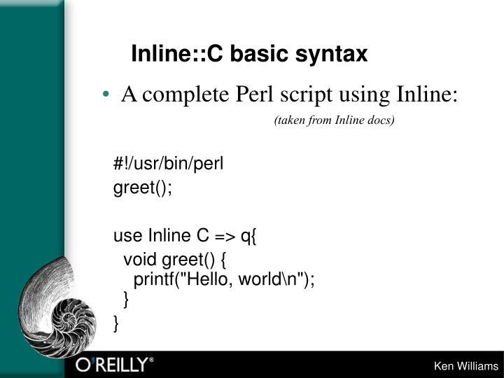 Inline::C basic syntax
