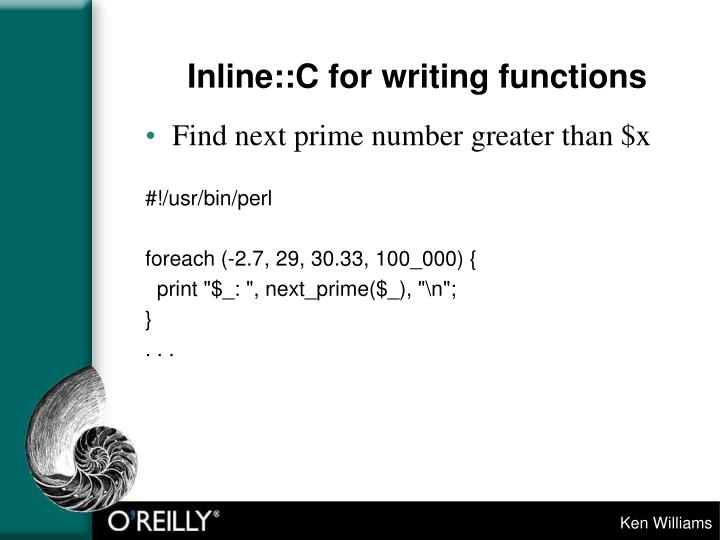 Inline::C for writing functions